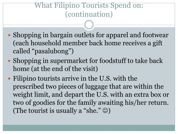 What Filipino Tourists Spend on: