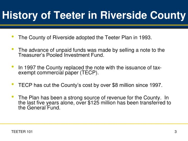 History of Teeter in Riverside County