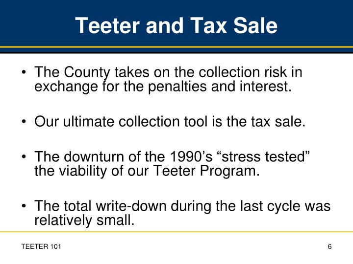 Teeter and Tax Sale