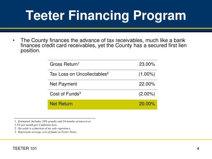 Teeter Financing Program