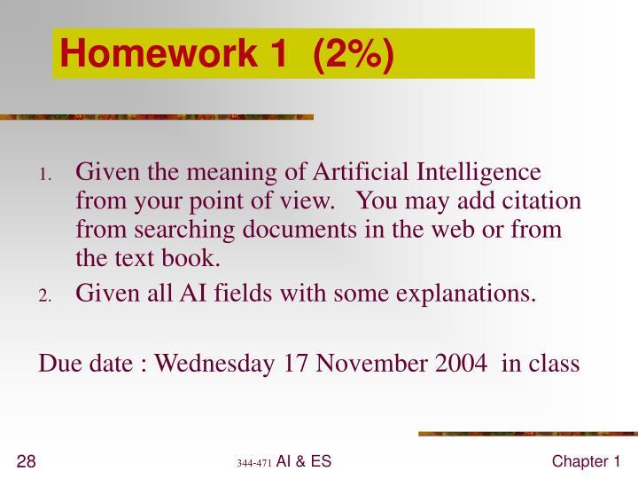 Homework 1  (2%)