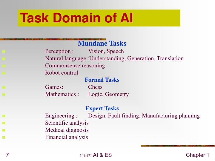 Task Domain of AI