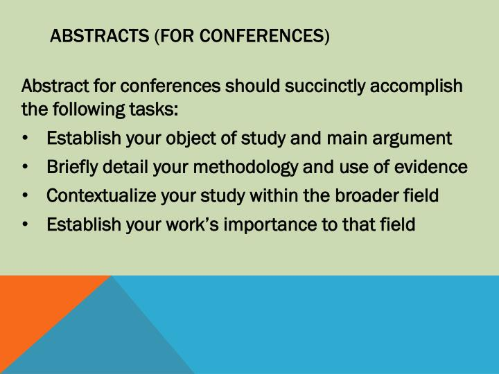 Abstracts (for Conferences)