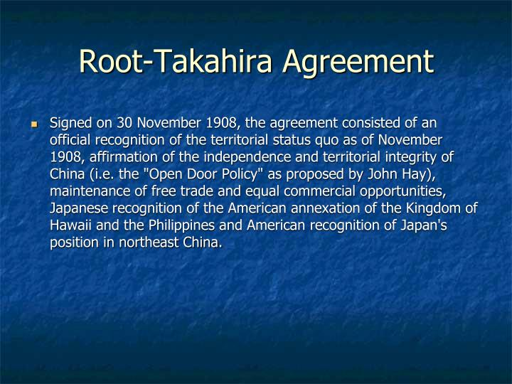 Root-Takahira Agreement