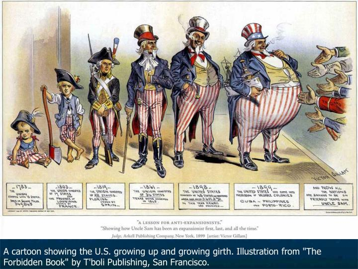 A cartoon showing the U.S. growing up and growing girth. Illustration from