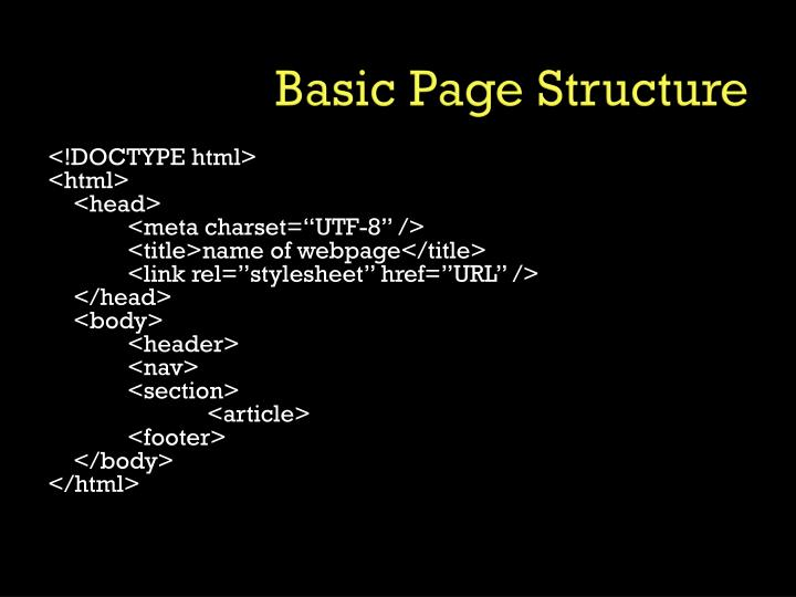 Basic Page Structure
