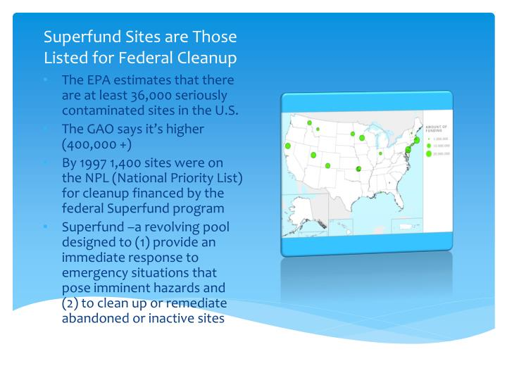 Superfund Sites are Those Listed for Federal Cleanup