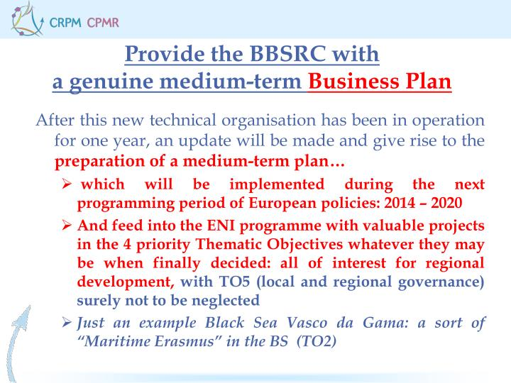 Provide the BBSRC with