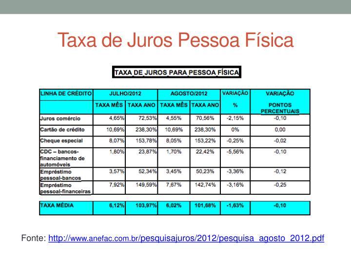 Taxa de Juros Pessoa