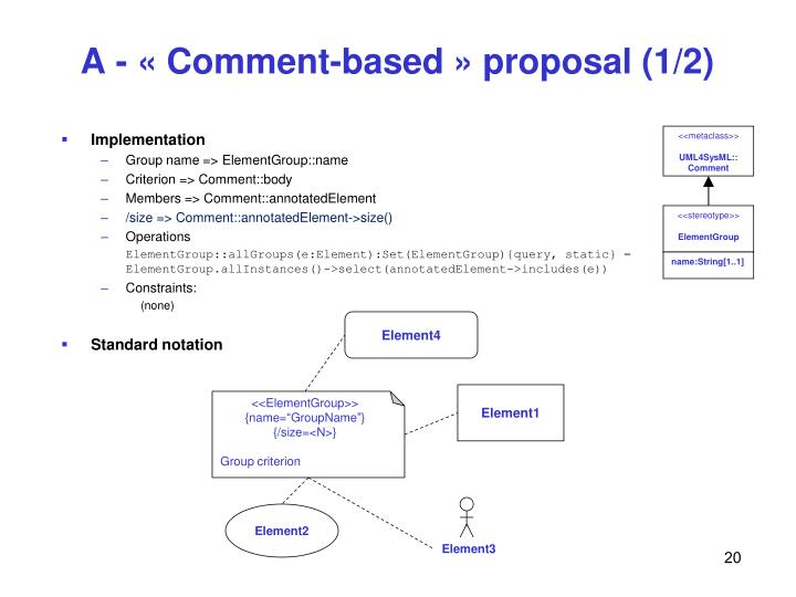 A - « Comment-based » proposal (1/2)