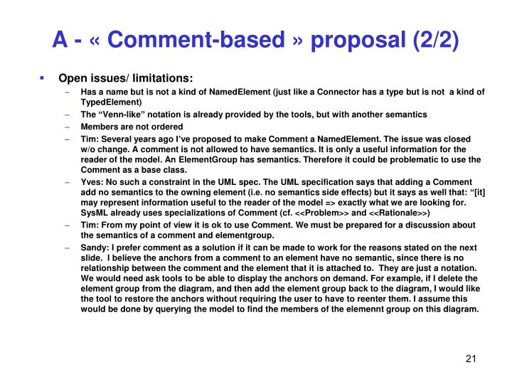 A - « Comment-based » proposal (2/2)