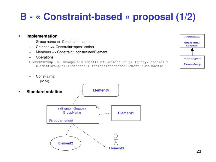 B - « Constraint-based » proposal (1/2)
