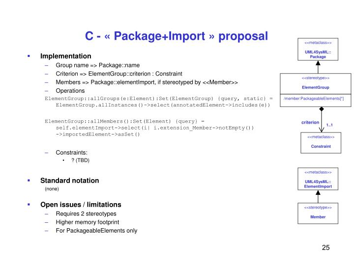 C - « Package+Import » proposal
