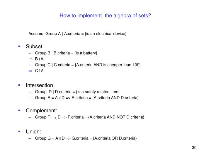 How to implement  the algebra of sets?
