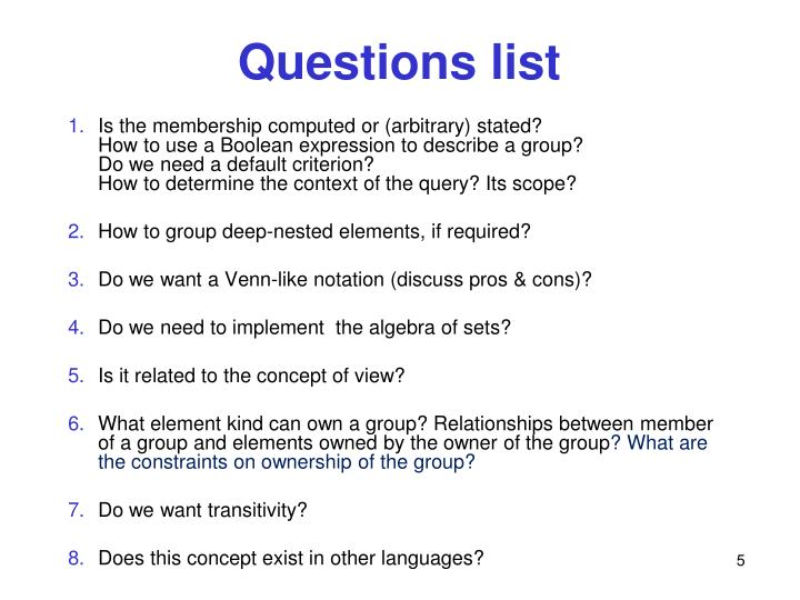 Questions list