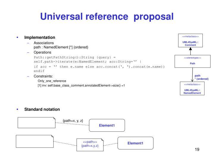 Universal reference  proposal