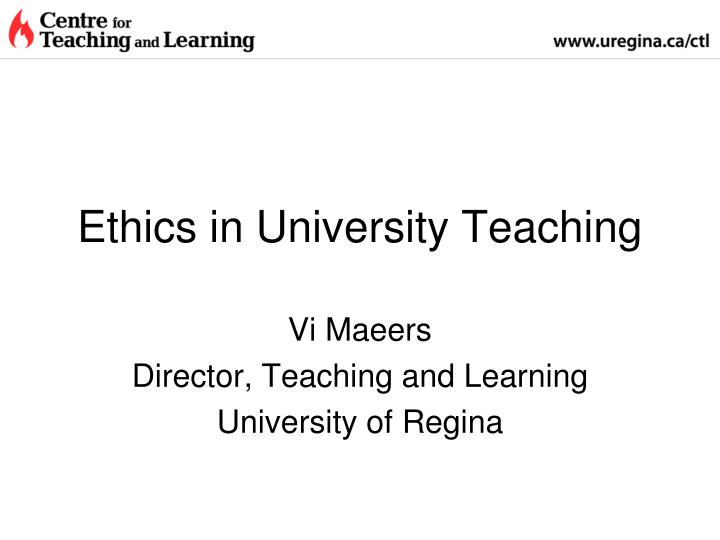 Ethics in University Teaching