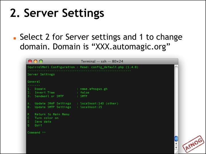 2. Server Settings
