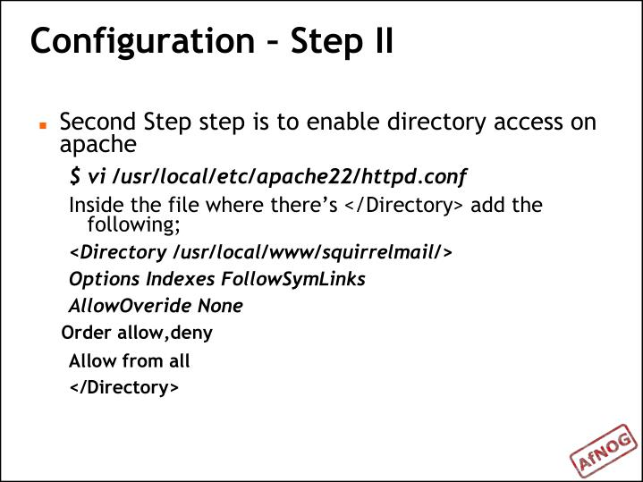 Configuration – Step II