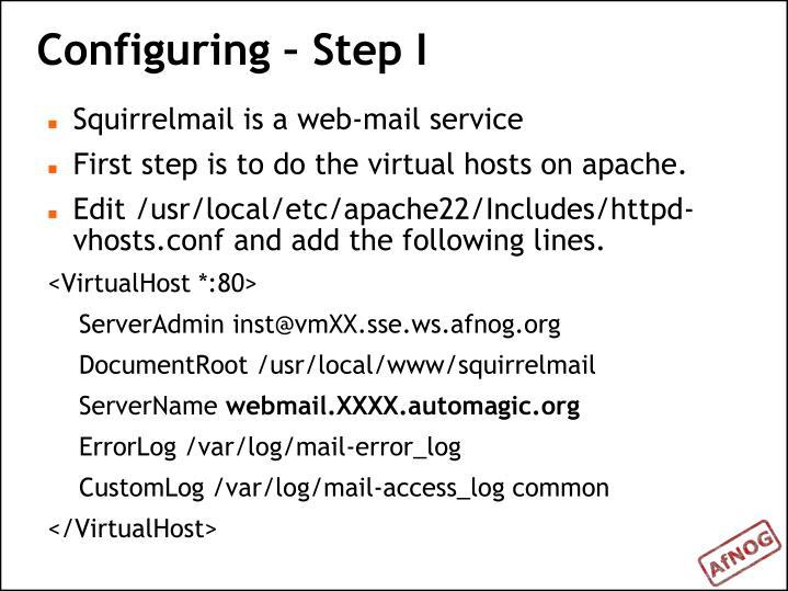 Configuring – Step I