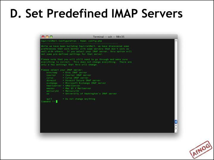 D. Set Predefined IMAP Servers
