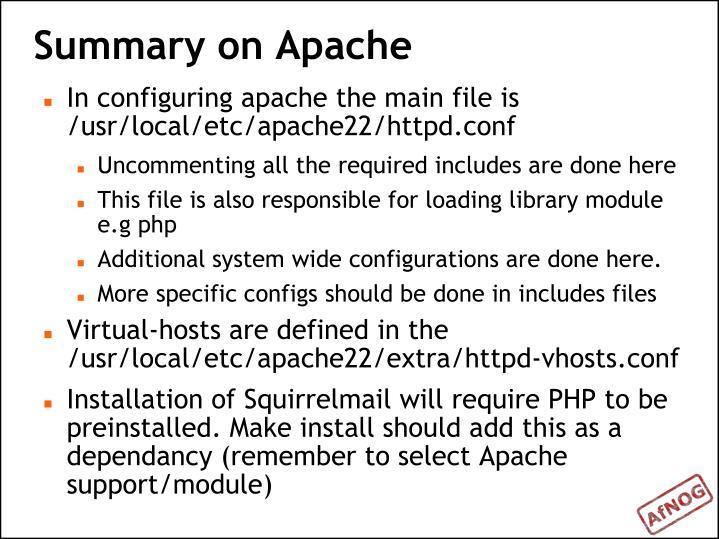Summary on Apache