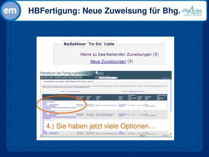HBFertigung: Neue Zuweisung für Bhg.