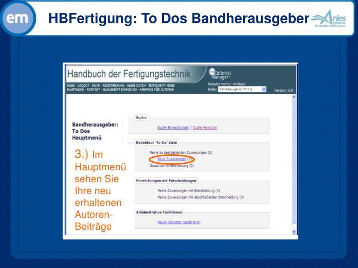 HBFertigung: To Dos Bandherausgeber