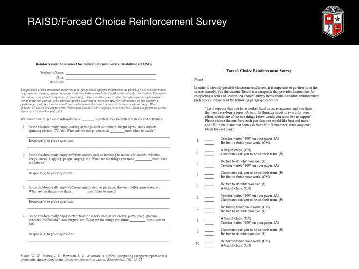 RAISD/Forced Choice Reinforcement Survey
