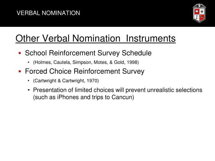 VERBAL NOMINATION