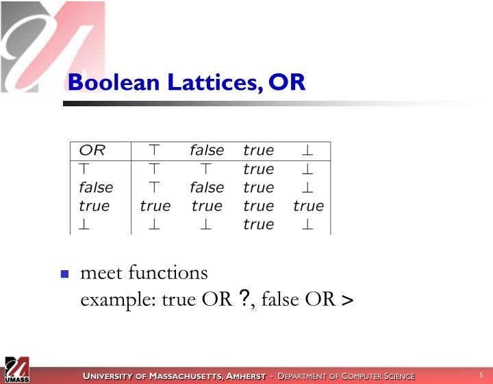 Boolean Lattices, OR