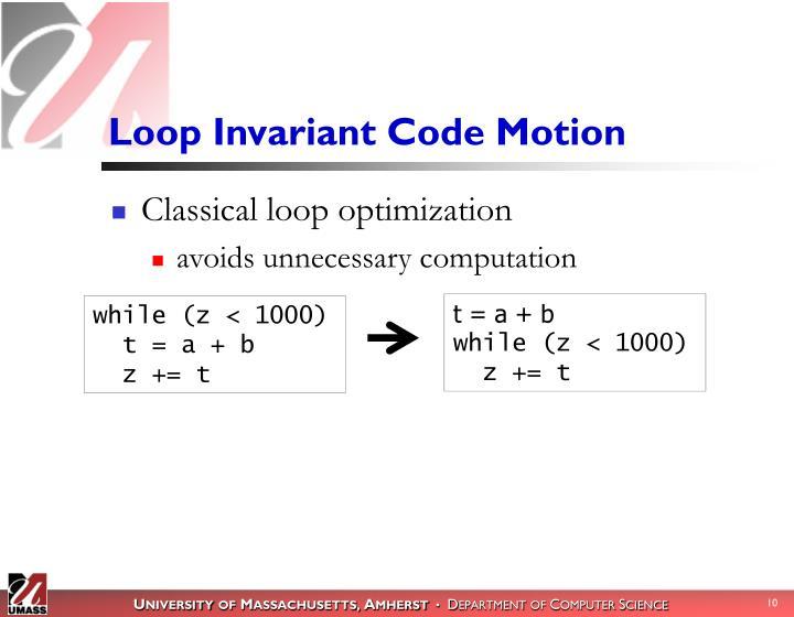 Loop Invariant Code Motion