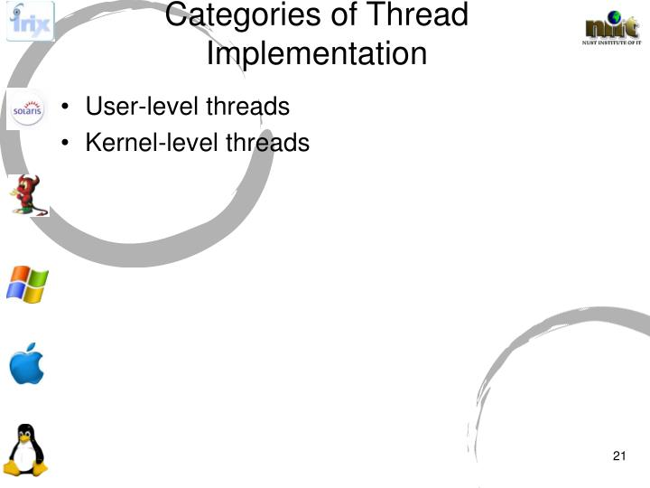 Categories of Thread Implementation