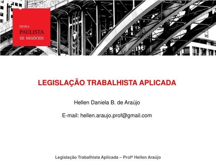 LEGISLAÇÃO TRABALHISTA APLICADA
