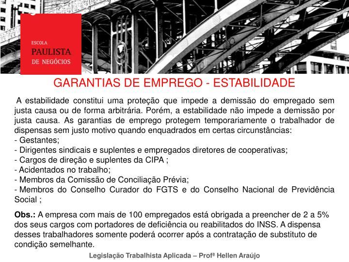 GARANTIAS DE EMPREGO - ESTABILIDADE