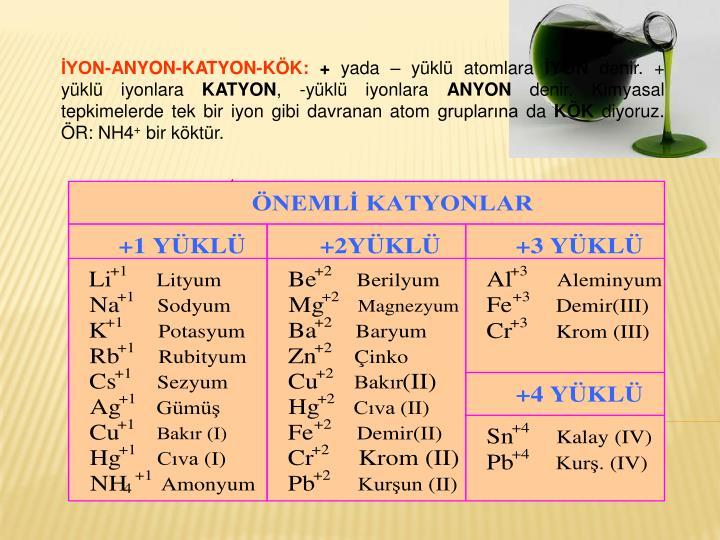 İYON-ANYON-KATYON-KÖK: