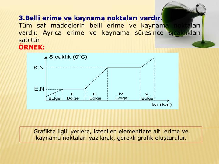 3.Belli erime ve kaynama noktaları vardır.