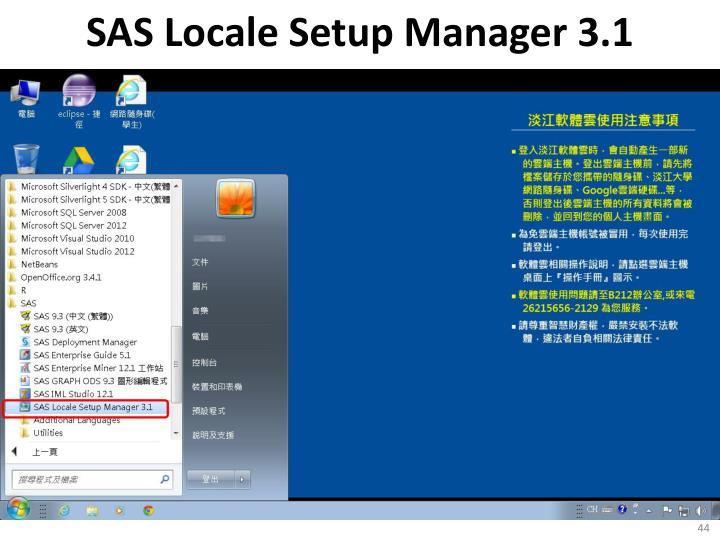 SAS Locale Setup Manager 3.1