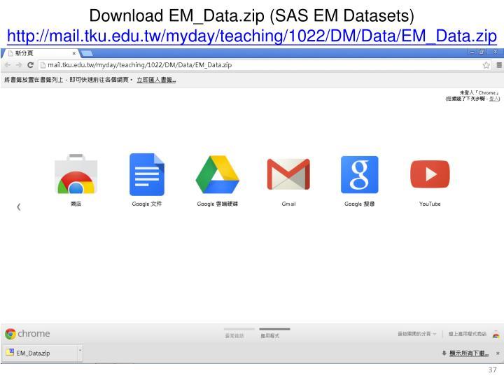 Download EM_Data.zip (SAS EM Datasets)