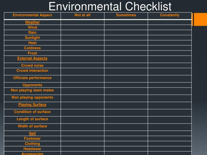 Environmental Checklist