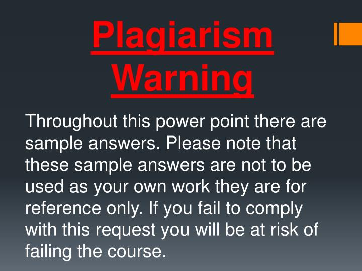 Plagiarism Warning