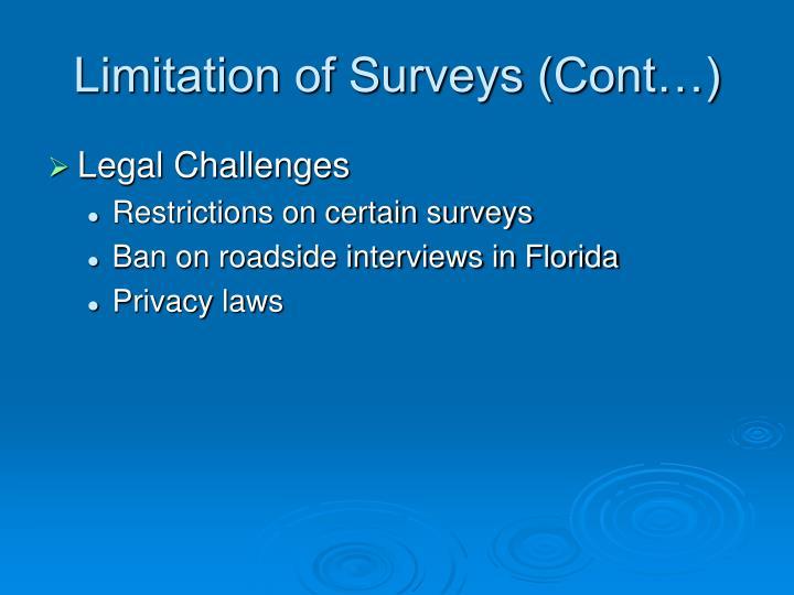 Limitation of Surveys (Cont…)