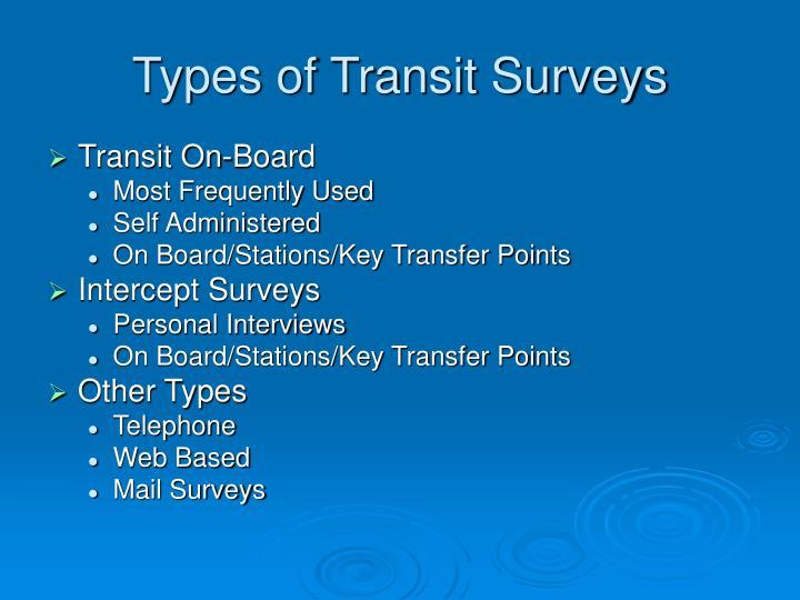 Types of Transit Surveys