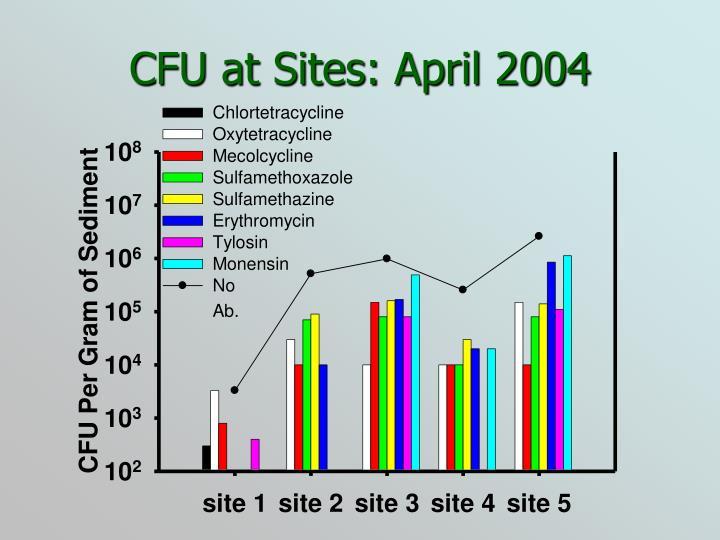 CFU at Sites: April 2004