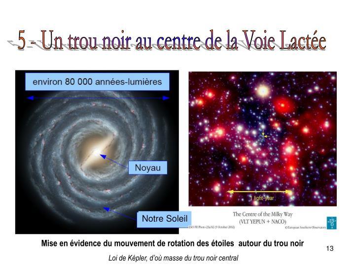 5 - Un trou noir au centre de la Voie Lactée