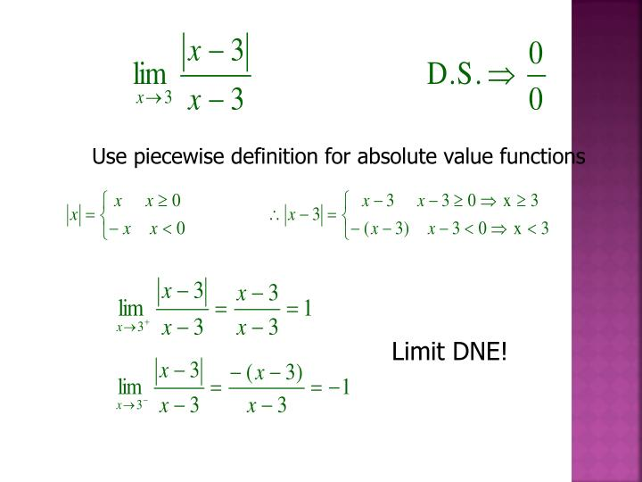 Use piecewise definition for absolute value functions