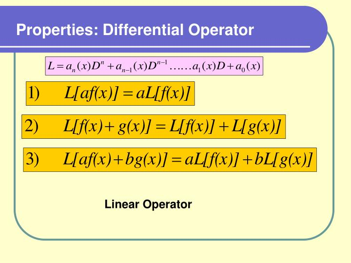 Properties: Differential Operator