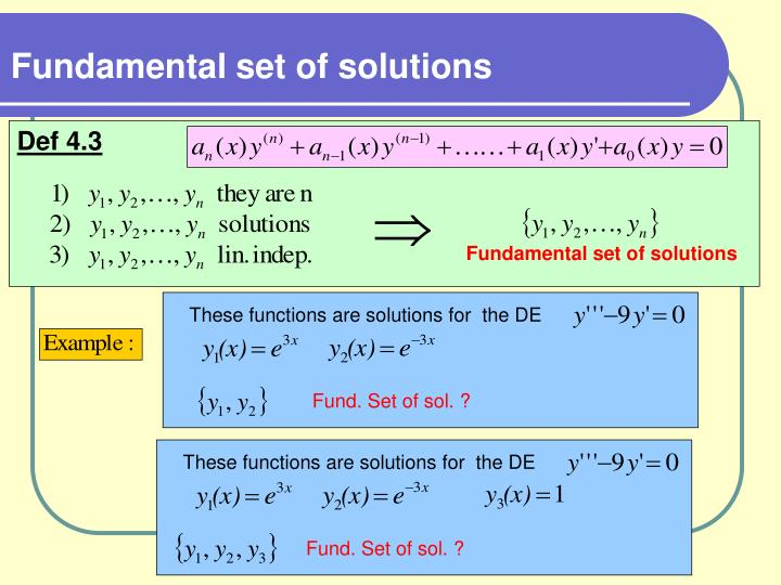 Fundamental set of solutions