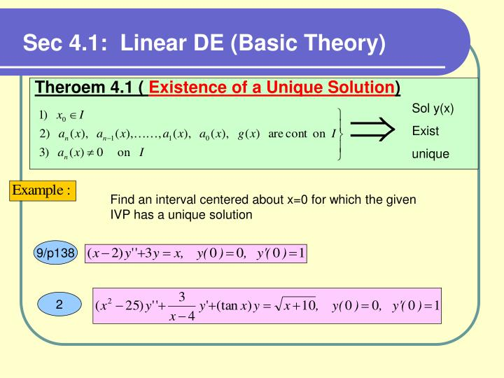 Sec 4.1:  Linear DE (Basic Theory)