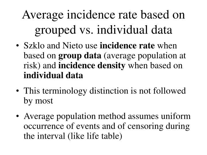 Average incidence rate based on grouped vs. individual data